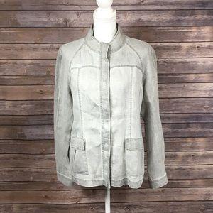 Eileen Fisher Grey Linen Button Down Top
